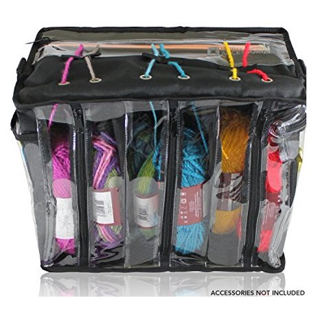 Premium Knitting Bag - Stylish, Durable & Portable Yarn Organizer for Knitting & Crocheting (Black Tote Style) ()