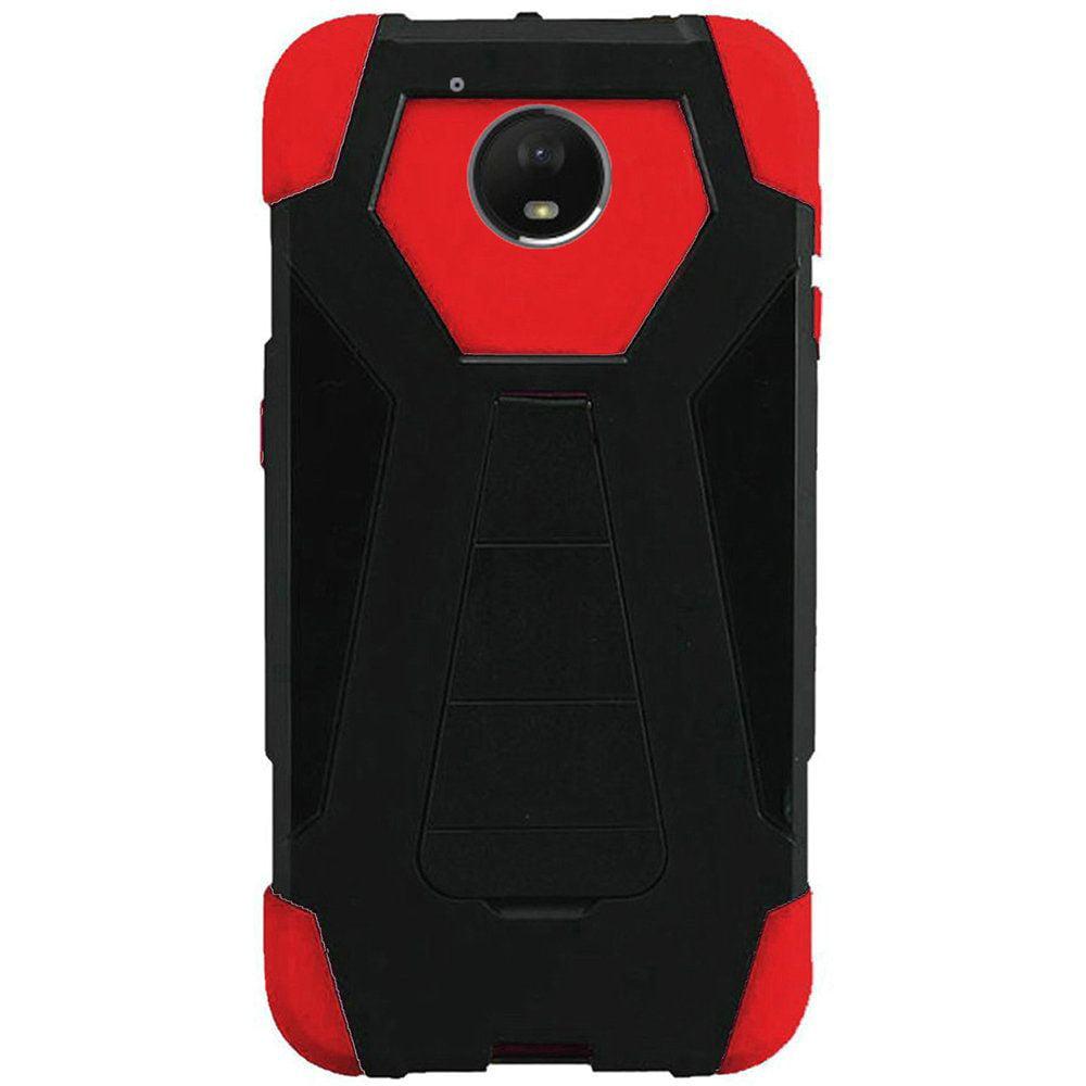 For Motorola Moto E4 Plus 4G 2017 Hybrid T Kickstand Case - Black+Red