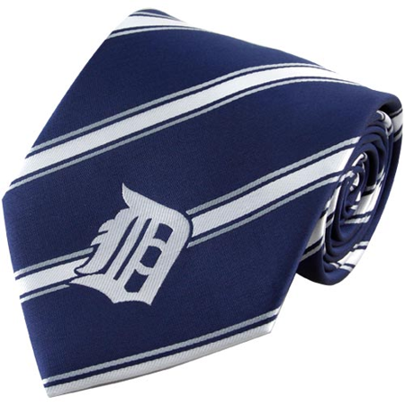 Tigers Poly Stripe - Detroit Tigers Woven Poly Striped Tie - No Size