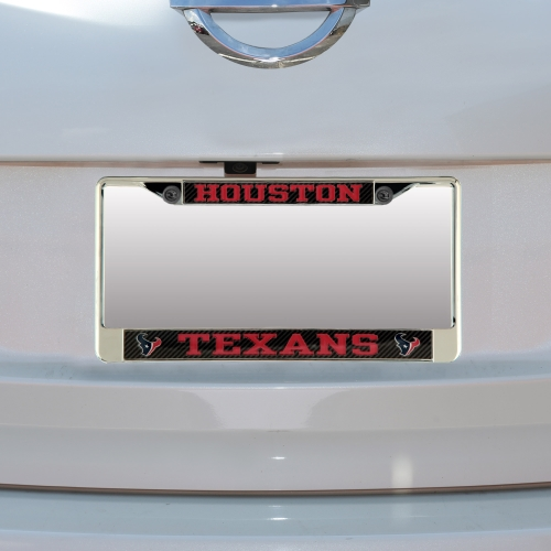 Houston Texans Carbon Small Over Large Metal Acrylic Cut License Plate Frame - No Size