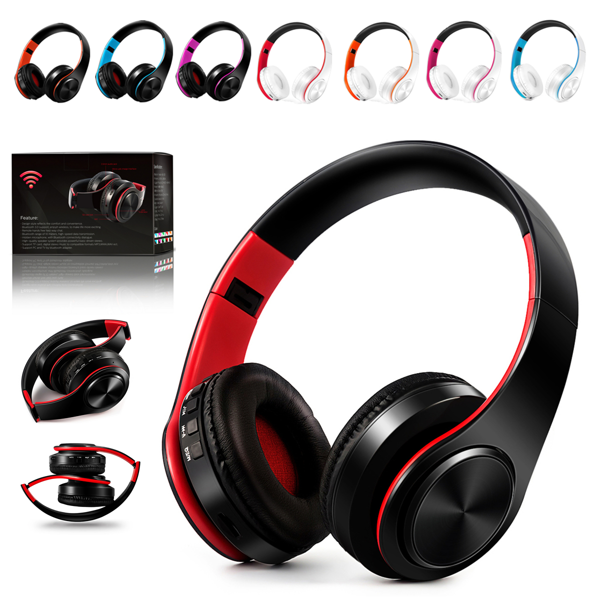 Hi-Fi Stereo Bass Bluetooth Sports Headphone Headset Foldable FM Radio ,Noise Cancelling Mic TF AUX Over Ear Wireless/Wired ,Soft Memory-Protein Earmuffs For PC/Cell Phones/TV