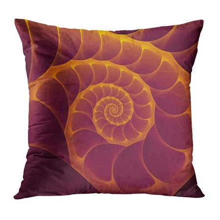 ECCOT Abstract Fractal Burgundy and Gold Nautilus Shell Spiral Amazing Fibonacci Pattern in Sea Golden Computer Pillow Case Pillow Cover 16x16 inch