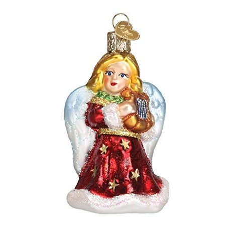 Old World Christmas Ornaments: Angel with Lyre Glass Blown Ornaments for Christmas Tree Angel Old World Christmas Ornament