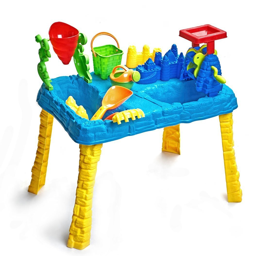 Sandbox 2-in-1 Sand and Water Wheel Table with 9 Beach Sand Toys Set by Bo Toys by Bo Toys and Gifts