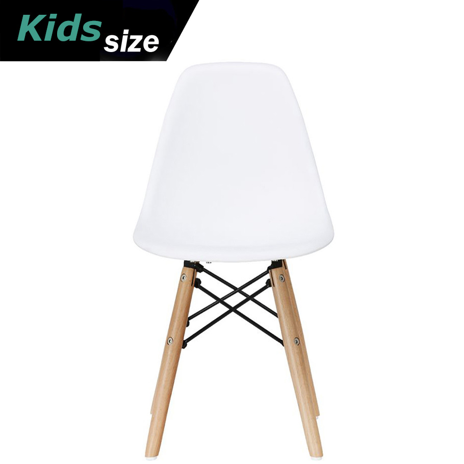 2xhome   White   Kids Size Plastic Side Chair White Seat Natural Wood  Wooden Legs Eiffel Childrens Room Chairs No Arm Arms Armless Molded Plastic  Seat Dowel ...