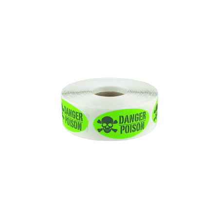 Fluorescent Green with Black Danger Poison Oval Shaped Stickers, 2 x 1 Inch in Size, 500 Labels on a Roll - Halloween Poison Labels