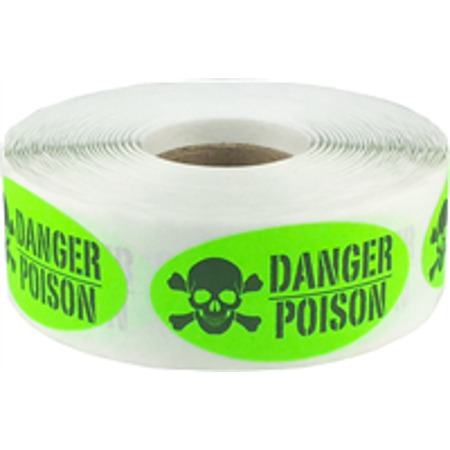 Fluorescent Green with Black Danger Poison Oval Shaped Stickers, 2 x 1 Inch in Size, 500 Labels on a - Halloween Labels Poison