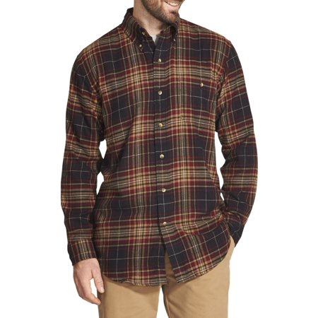 Arrow Men's Big and Tall Saranac Flannel Long-Sleeve Button-Down Shirt Big One Satin Button
