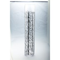 "30"" Clear Cylindrical Glass Vase with Bird Printed Branches"