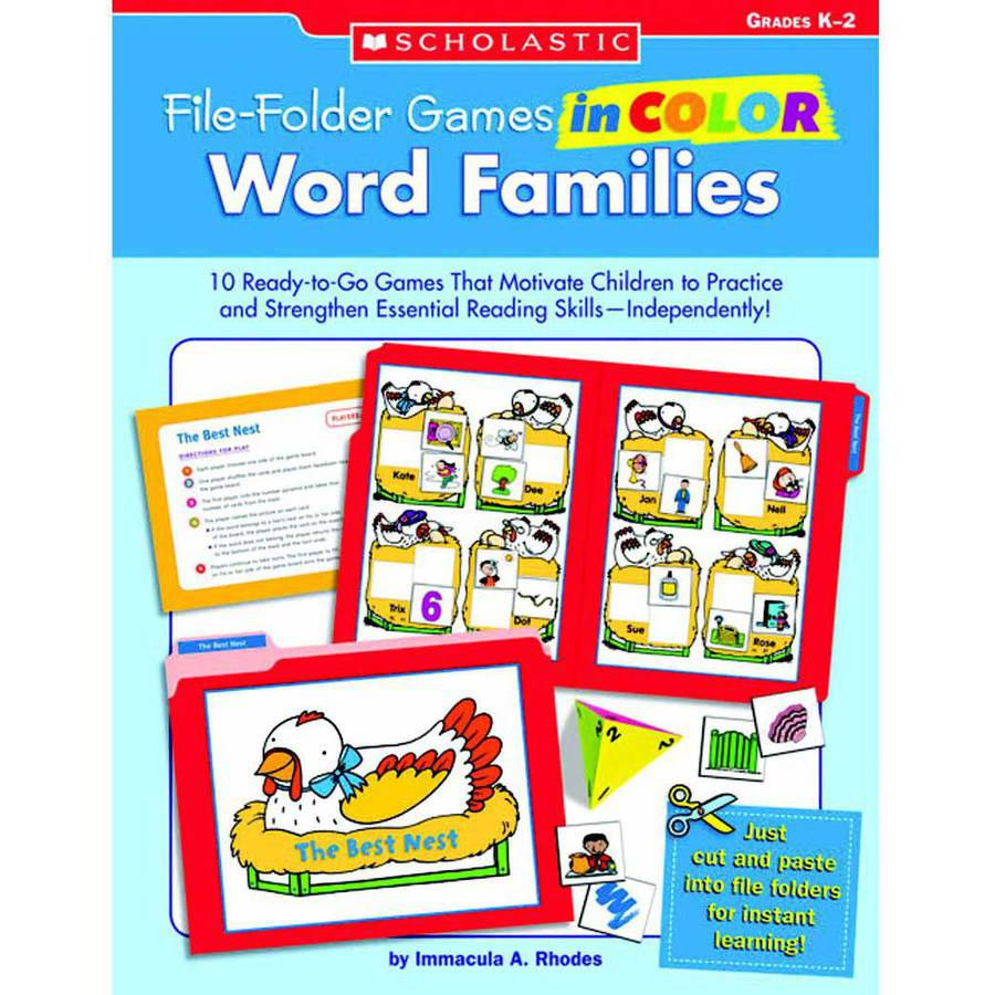 Scholastic Word Families File Folder Games