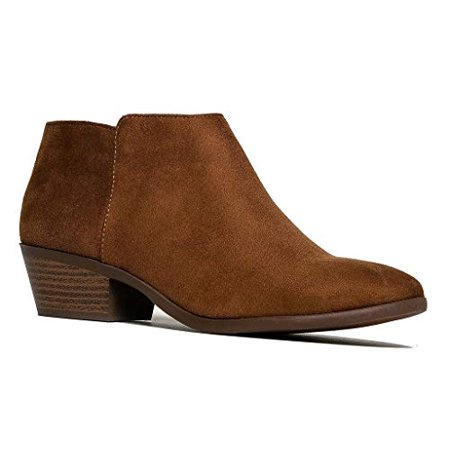 Cowgirl Heel Boots (Soda Western Ankle Boot- Cowgirl Low Heel Closed Toe Casual Bootie Cognac (9))