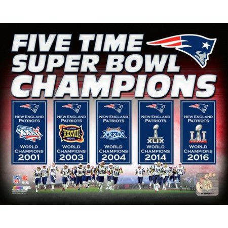 New England Patriots 5 Time Super Bowl Champions Banners Photo Print