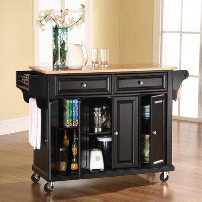 Crosley Furniture Kf31001ebk Natural Wood Top Wine Cart In Black