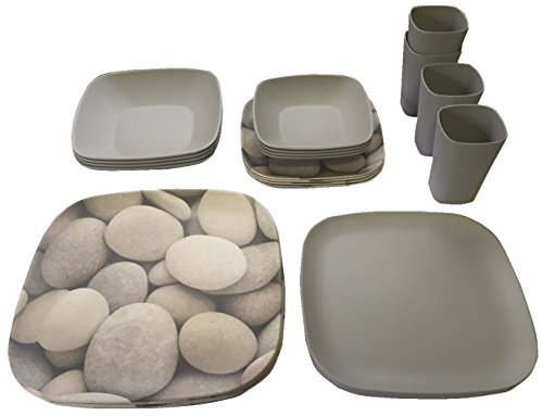 Bamboozle 24-piece Bamboo Place Setting Service for Four (Pebble Print   Grey) by Bamboozle