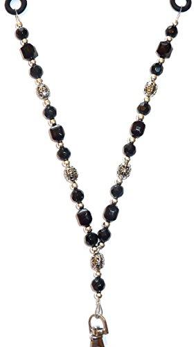 Keys Cruise Medical Device Phone ID Badge Active Wear Soft Silicone Strap Womens Fashion Beaded Lanyard Black