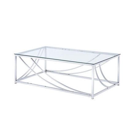 Rectangular Coffee Table with Swoop Accents Chrome ()