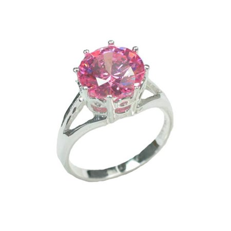 Ice Solitaire Ring (Bright Pink Ice CZ Solitaire 10mm Round Sterling Silver Engagement Ring)