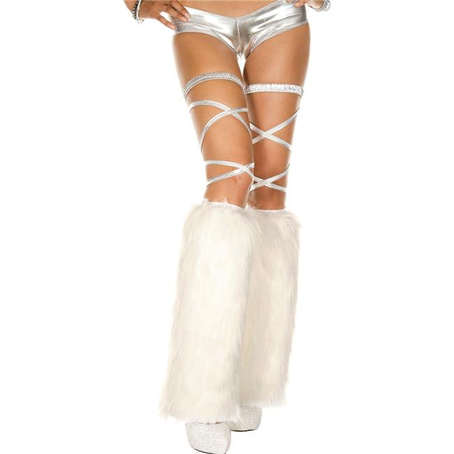 Faux Fur Leg Warmers, White