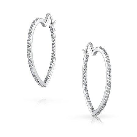 Heart Shaped Inside Out Cubic Zirconia Pave CZ Large Hoop Earrings For Women Girlfriend Silver Tone Brass 1.5 In Dia - image 2 of 5