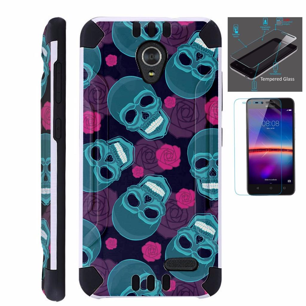 For ZTE Maven 3 / ZTE Prelude 4G LTE 2017 / ZTE Overture 3 Case + Tempered Glass Slim Dual Layer Brushed Texture Armor Hybrid TPU KomBatGuard Phone Cover (Teal Skull)
