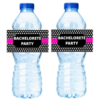 Pink Black Bachelorette Party 15ct Water Bottle Decorations Labels Stickers