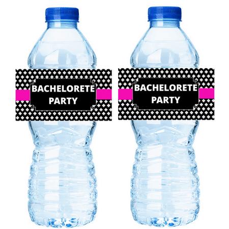 Pink Black Bachelorette Party 15ct Water Bottle Decorations Labels - Black Bachelorette Party