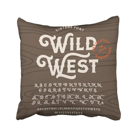BSDHOME Wild Vintage Handcrafted In Western Uppercase And Lowercase Alphabet West Wood Pillowcase Throw Pillow Cover Case 18x18 inches - image 2 de 2
