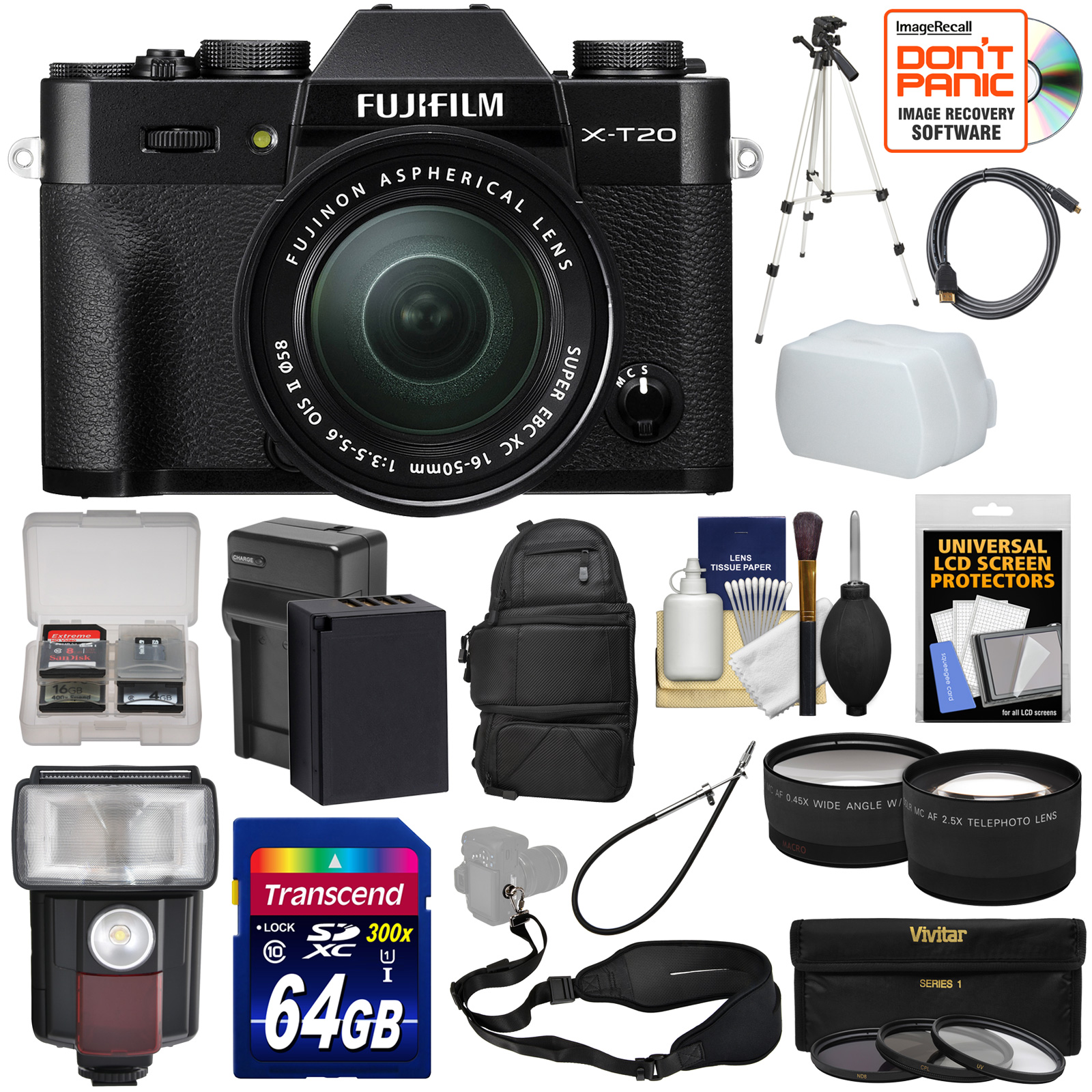 Fujifilm X-T20 Wi-Fi Digital Camera & 16-50mm XC Lens (Black) with 64GB