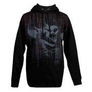 Small Mens Pullover Hooded Sweatshirt, Matrix Skull Profile, Black (S) 30290732