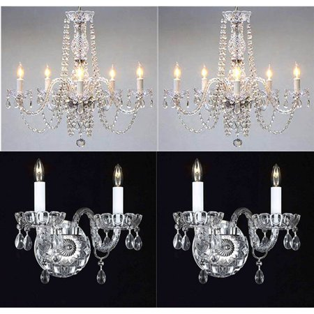 Clear Flush Sconce (Harrison Lane Royal T22-102 Crystal 4 Piece Chandelier and Wall Sconce Set)