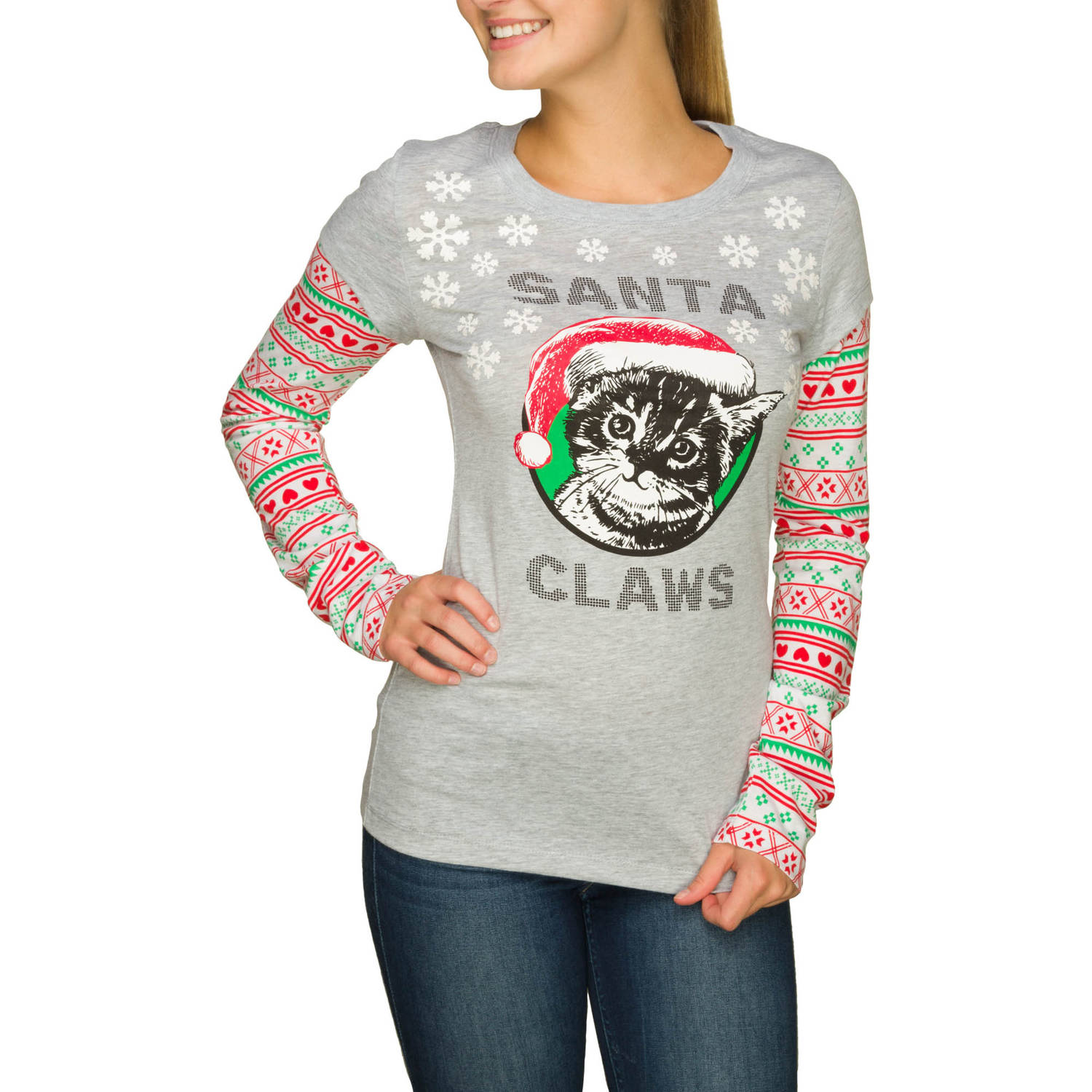 """Juniors' """"Ugly Santa Claws"""" Graphic Twofer Longsleeve"""