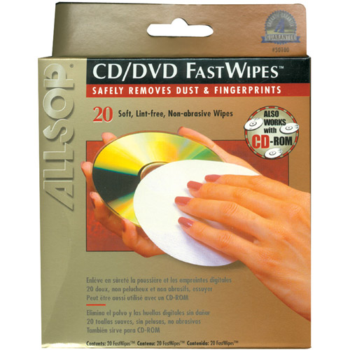 Allsop 50100 CD Fastwipes, 20pk
