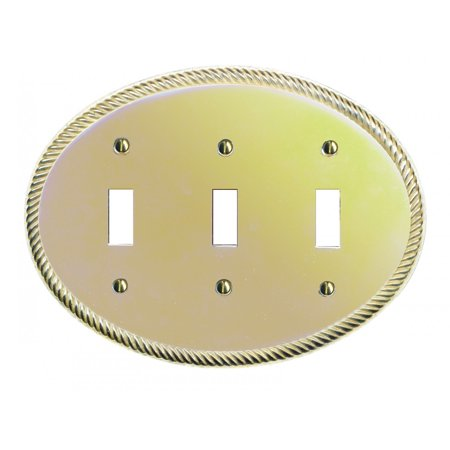 Solid Brass Triple Toggle Switchplate Oval Braided | Renovators -