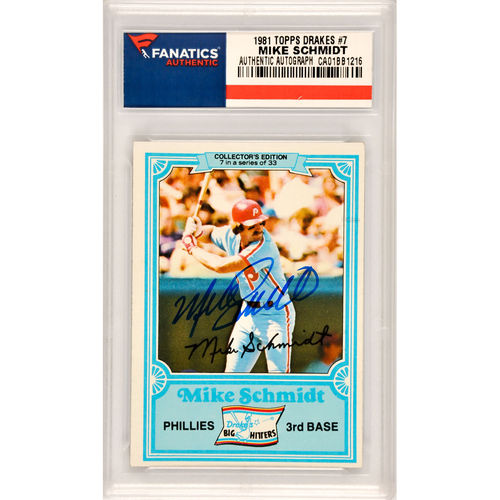 Mike Schmidt Philadelphia Phillies Autographed 1981 Topps Drakes #7 Card