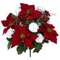 18 stems Faux Velvet Poinsettia Carnation Berry X'mas Bush