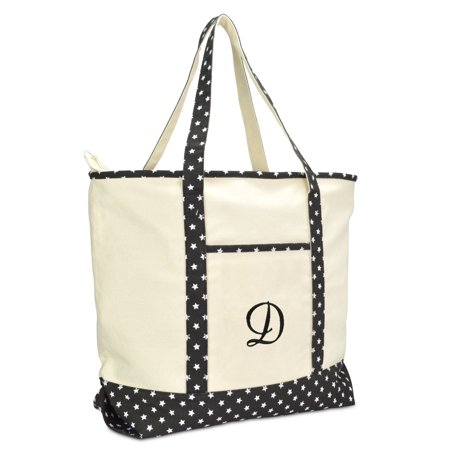 DALIX Personalized Shopping Tote Bag Monogram Black Star Ballent Zippered Letter- D