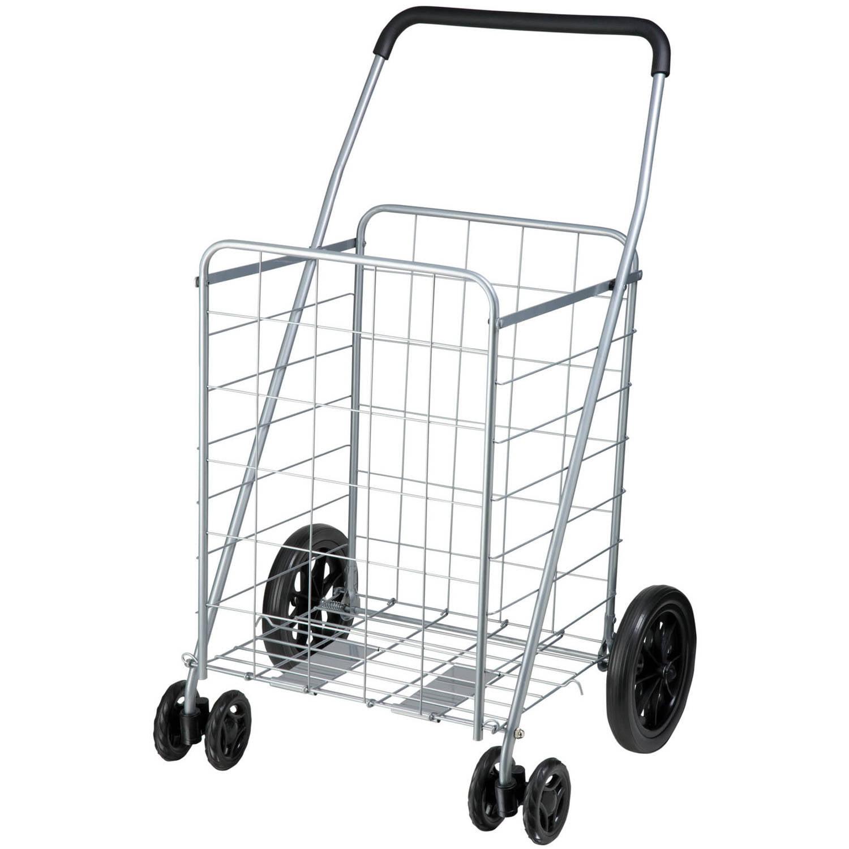 Honey Can Do Steel Folding Dual-Wheel Utility Rolling Cart, Gray