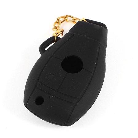 Unique Bargains Black Silicone 3 Buttons Car Truck Remote Key Holder Case for Benz