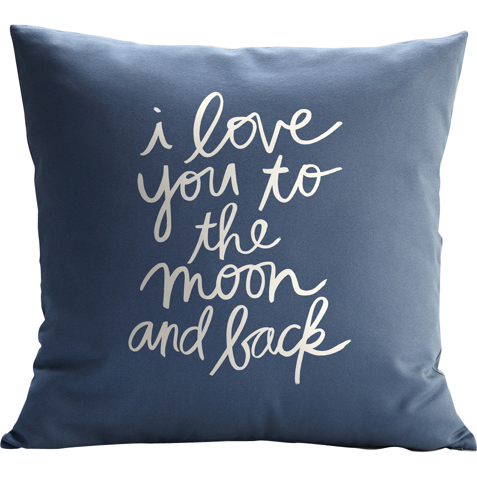 Personalized RedEnvelope Love You to the Moon & Back Throw Pillow w/Insert 12x18 Blue
