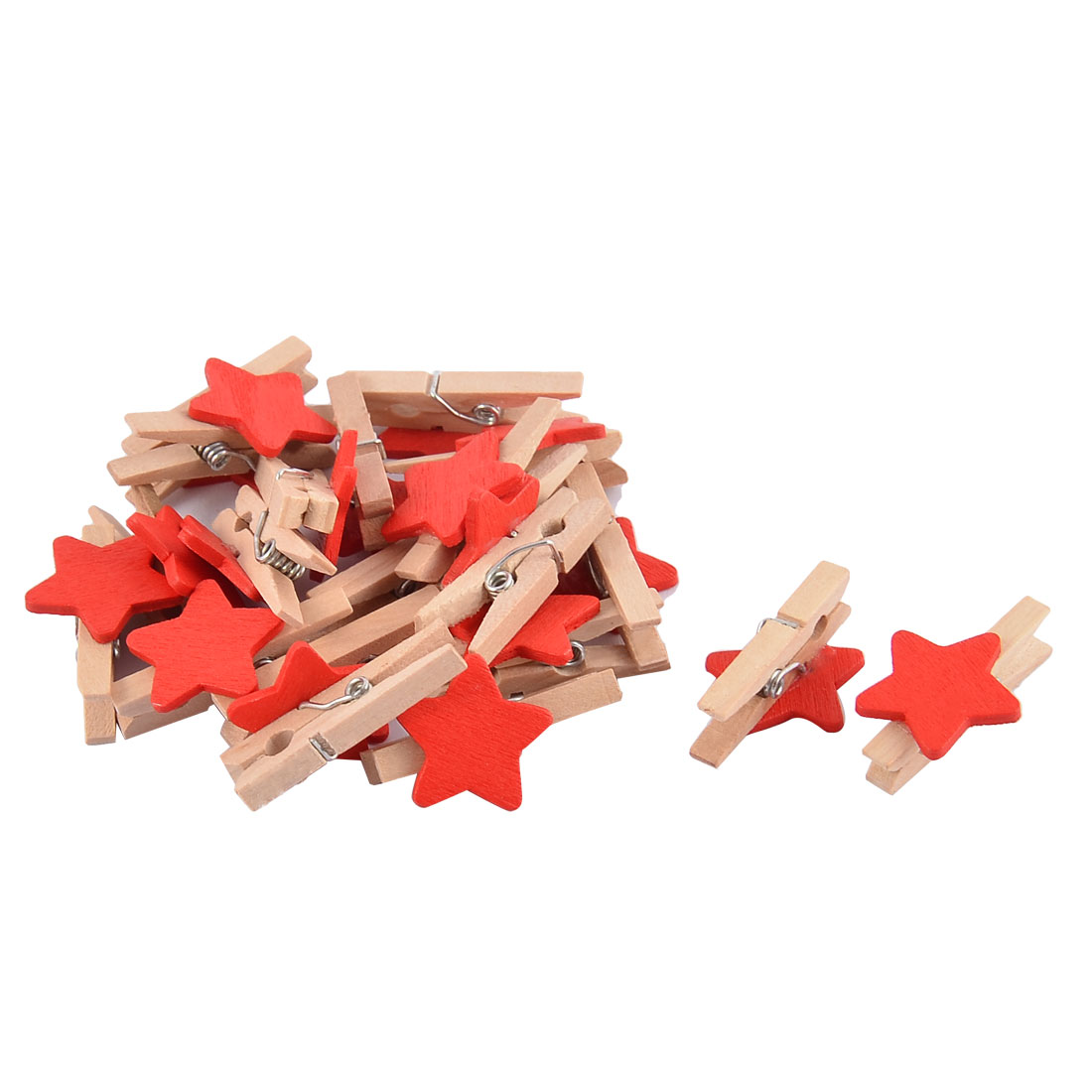 Star Card Photo Hanger Clothespin Spring Pegs Mini Wooden Clip Red 20pcs