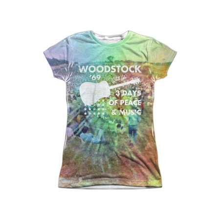 Woodstock Crowd On The Hill Guitar Logo Juniors Front/Back Print T-Shirt - Woodstock Outfits