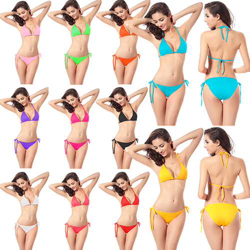 Women's Sexy Solid Triangle Cup Bra Tie Sides Brief Swimsuit Swimwear Bikini Set(Asian Size)