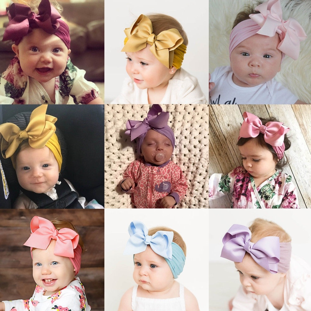 Baby Toddler Kids Stretch Headband Girls Hairband Turban Bow Knot Head Wrap