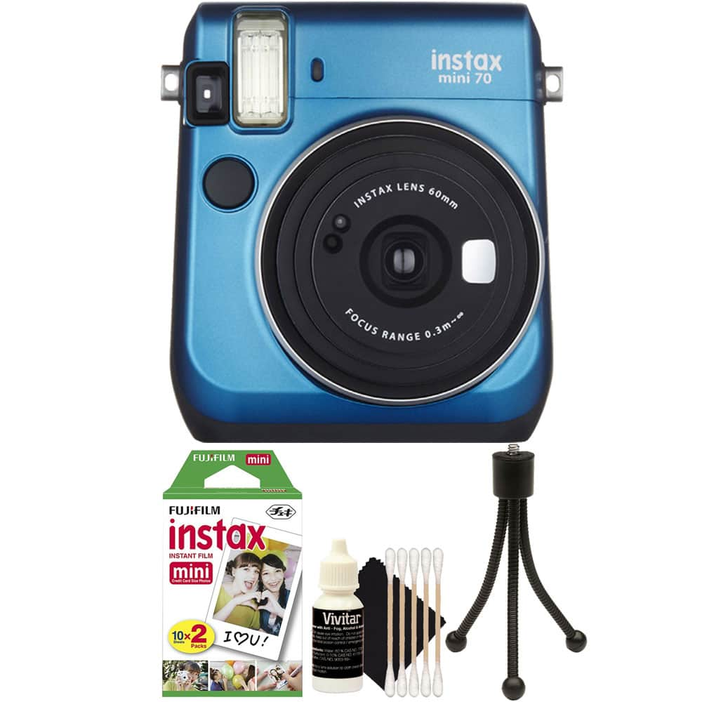 FujiFilm Instax Mini 70 Instant Film Camera with 20 Film + Cleaning Kit Blue by Teds