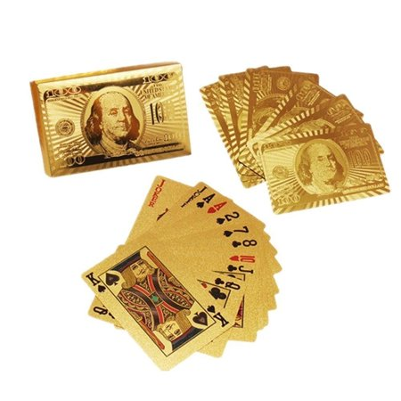 - PLAYING CARDS HIGH QUALITY 24K GOLD FOIL NEWEST 100.00 BILL BENJAMIN FRANKLIN