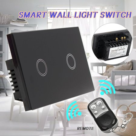 Smart Wall Light Switch Remote Panel Touch LED Light Crystal Glass 1 Way 2