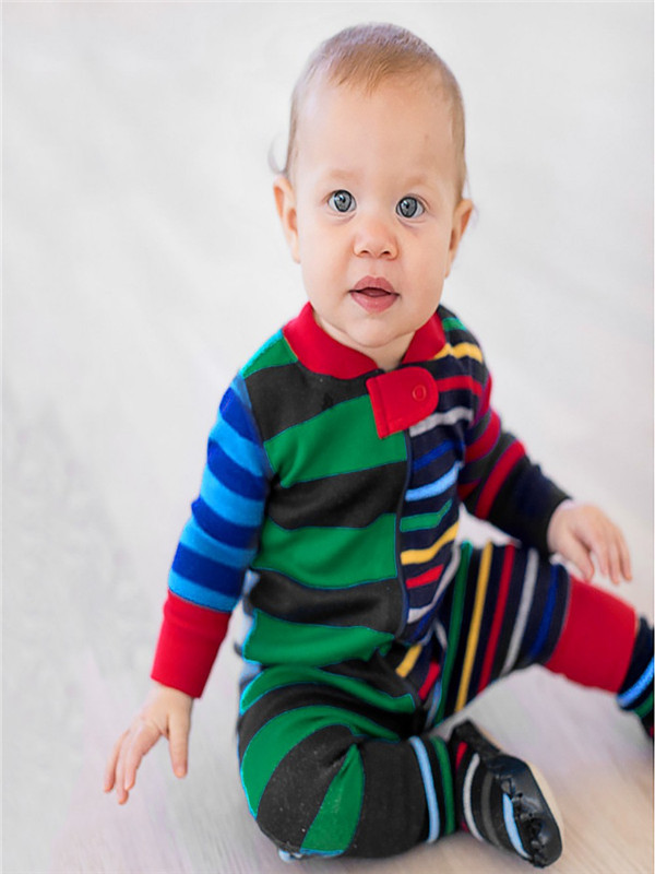Christmas Toddler Baby Long Sleeves Stripe Print Romper Jumpsuit Family Clothes