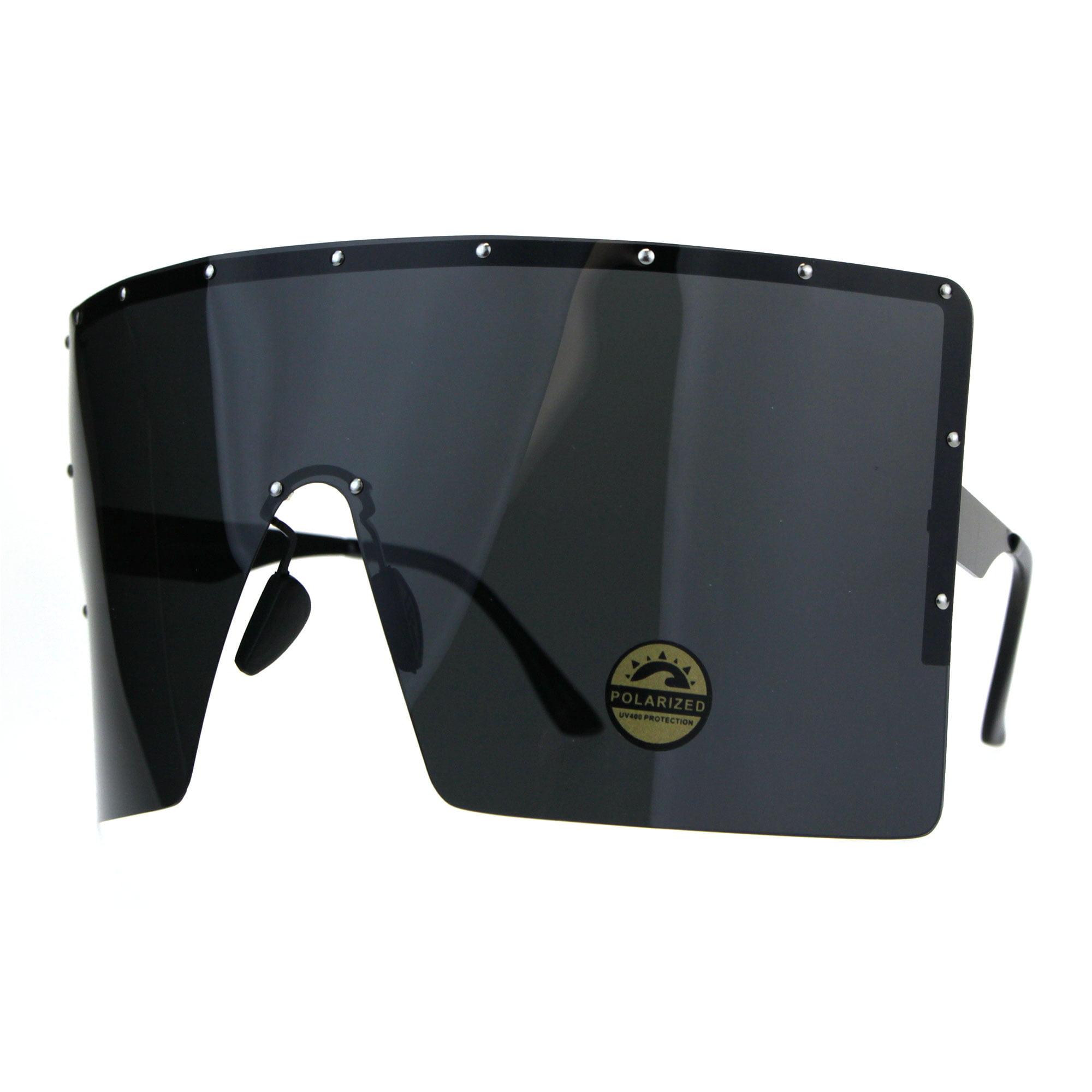Sa106 Polarized Extra Large Face Mask Futuristic Shield Sunglasses All Black Walmart Com Walmart Com