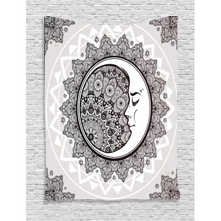 Mystic Tapestry, Ornate Crescent Moon with Stars and Mandala Asian Eastern Spiritual Graphic, Wall Hanging for Bedroom Living Room Dorm Decor, Beige White Black, by Ambesonne