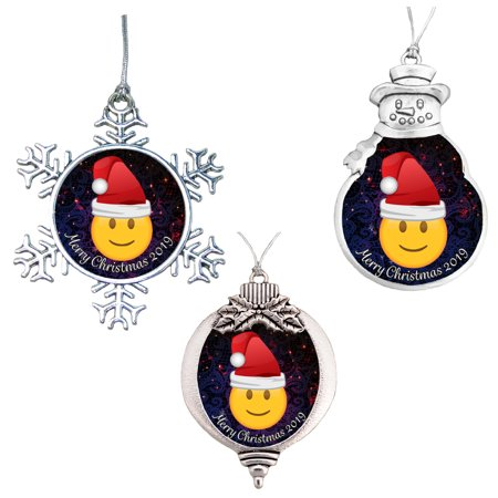 Emoji Classic Smile Happy Face Merry Christmas 2019 Ornament Gift ()